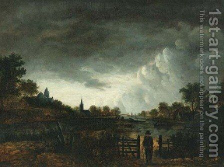 A river landscape at sunset with a peasant by a gate by (after) Aert Van Der Neer - Reproduction Oil Painting
