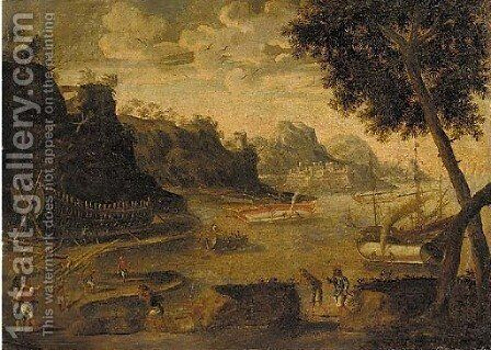 A harbour landscape with shipwrights working in a yard, a fortress and mountains beyond by (after) Agostino Tassi - Reproduction Oil Painting