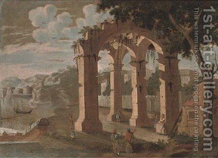 A Mediterranean coastal landscape with figures amongst ruins by (after) Agostino Tassi - Reproduction Oil Painting