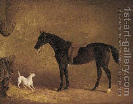 A black hunter and a dog in a stable by (after) Albert Clark - Reproduction Oil Painting