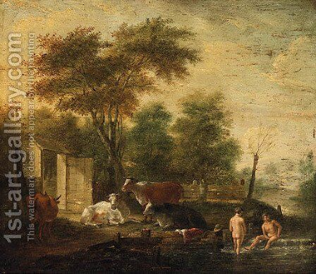 Herdsmen bathing in a Stream with Cattle grazing on a Bank nearby by (after) Albert Klomp - Reproduction Oil Painting