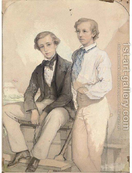 A portrait of Arthur and Kenneth Deighton with their cricket bat by (after) Albert Ludovici - Reproduction Oil Painting