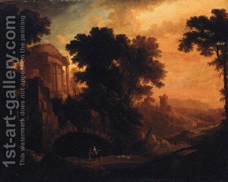 An Italianate landscape with herders on a track by a ruined temple at dusk by (after) Albert Meyeringh - Reproduction Oil Painting