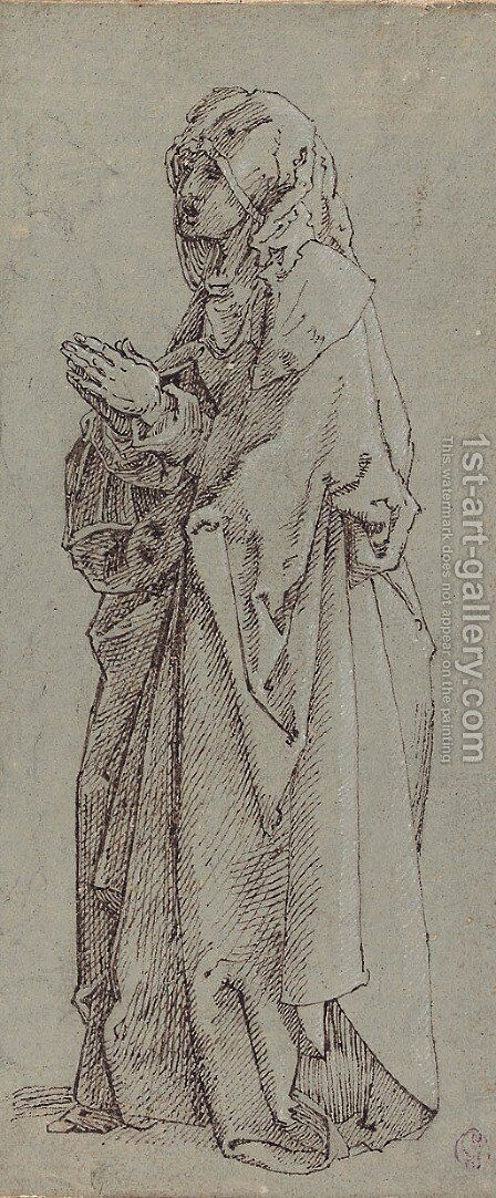 A heavily draped female figure turned to the left, her hands clasped in prayer by (after) Albrecht Durer - Reproduction Oil Painting