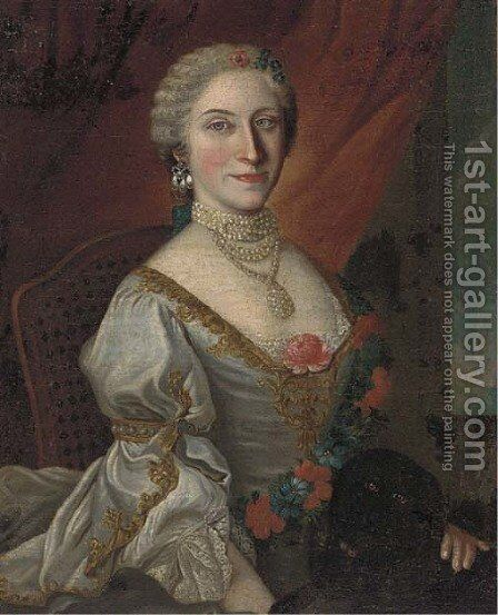 Portrait of a lady by (after) Alessandro Longhi - Reproduction Oil Painting