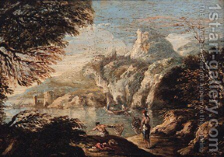 A coastal inlet with fishermen on a bank by (after) Alessandro Magnasco - Reproduction Oil Painting