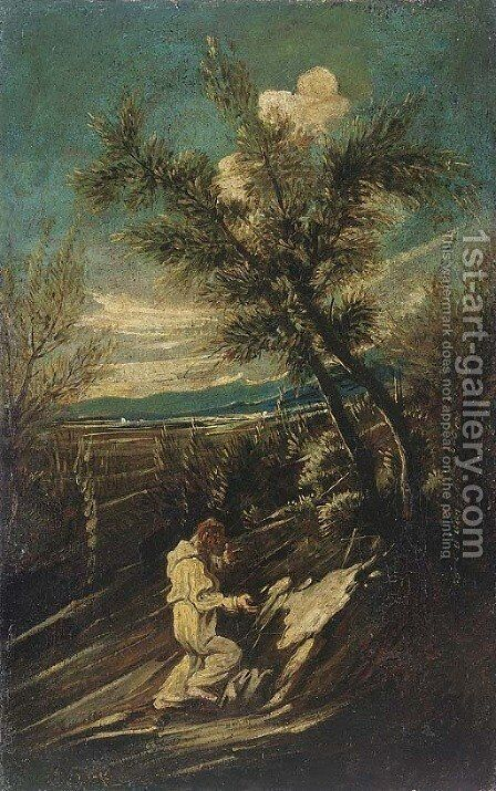 A hermit monk praying in a landscape by (after) Alessandro Magnasco - Reproduction Oil Painting