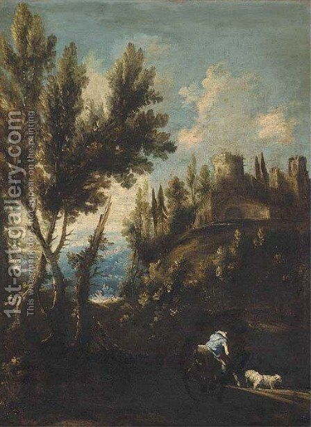 A landscape with cattle and a mounted shepherd with his flock by (after) Alessandro Magnasco - Reproduction Oil Painting