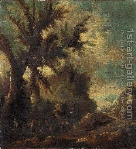A river landscape with figures in the foreground by (after) Alessandro Magnasco - Reproduction Oil Painting