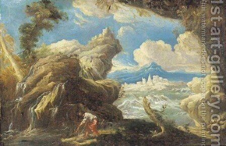 A rocky landscape with a fisherman by a waterfall, a lake and town beyond by (after) Alessandro Magnasco - Reproduction Oil Painting