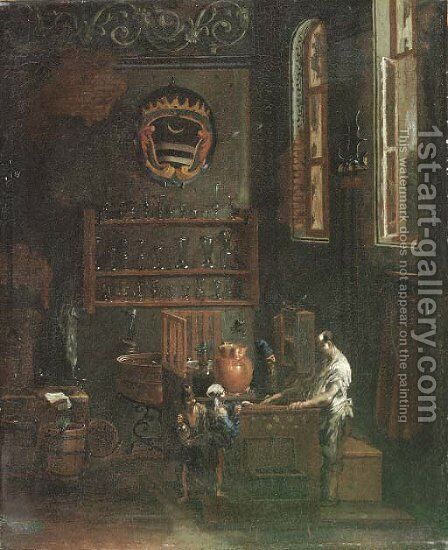 Beggar children at a pharmacist by (after) Alessandro Magnasco - Reproduction Oil Painting