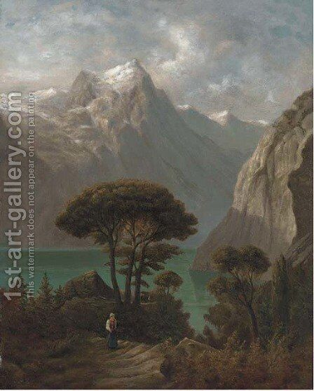 A figure on a beaten track by a lake, with mountains beyond by (after) Alexander Calame - Reproduction Oil Painting