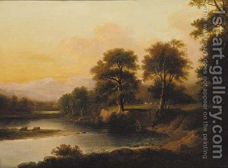 A ferry crossing in a wooded river landscape with a monument beyond by (after) Alexander Nasmyth - Reproduction Oil Painting