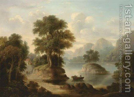 A wooded river landscape with figures in a boat by (after) Alexander Nasmyth - Reproduction Oil Painting
