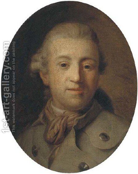 Portrait of a gentleman, bust-length, in a green coat and brown scarf by (after) Alexander Roslin - Reproduction Oil Painting