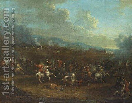 A cavalry skirmish by (after) Alexander Van Bredael - Reproduction Oil Painting