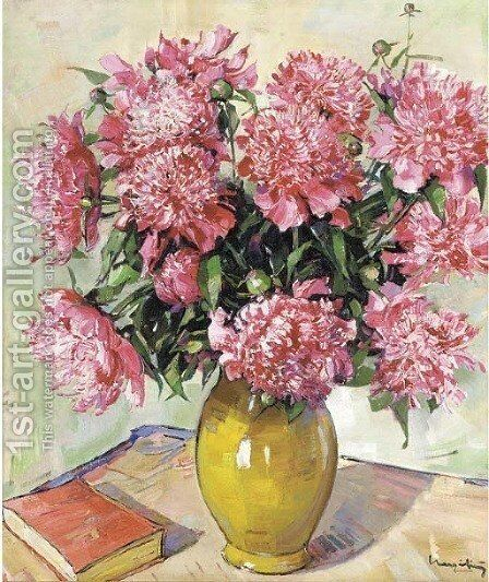 Peonies in a yellow vase by (after) Alfons Kapinski - Reproduction Oil Painting