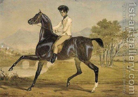 A gentleman on horseback in a river landscape by (after) Alfred Dedreux - Reproduction Oil Painting