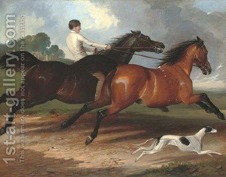 A young man exercising horses and a greyhound in a landscape, a country house beyond by (after) Alfred Dedreux - Reproduction Oil Painting