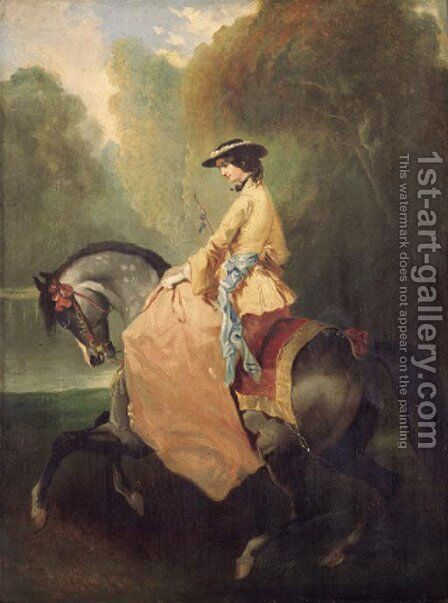 An elegant lady on horseback by (after) Alfred Dedreux - Reproduction Oil Painting