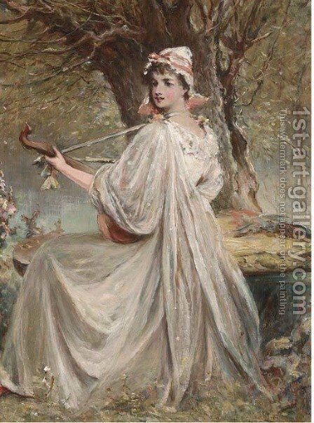 Music to make the heart grow fonder by (after) Alfred Joseph Woolmer - Reproduction Oil Painting