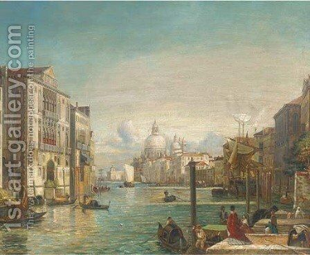 Gondolas on the Grand Canal, Venice by (after) Alfred Pollentine - Reproduction Oil Painting