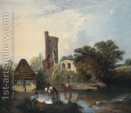 Horses watering before a castle ruin by (after) Alfred Stannard - Reproduction Oil Painting