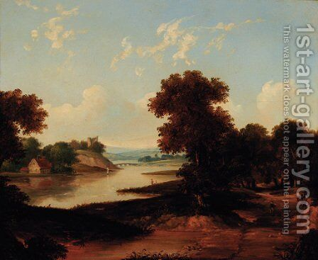 A figure on a riverside track, a ruined castle beyond by (after) Alfred Vickers - Reproduction Oil Painting