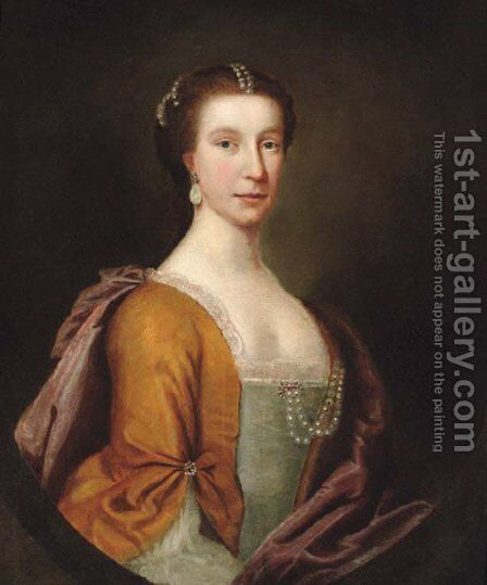 Portrait of a lady 4 by (after) Allan Ramsay - Reproduction Oil Painting