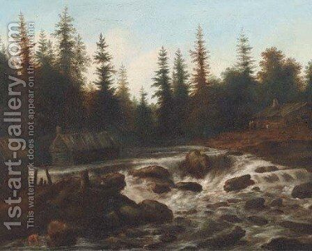 An extensive wooded river landscape with travellers by a cottage by (after) Allart Van Everdingen - Reproduction Oil Painting