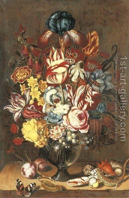 Tulips by (after) Ambrosius The Younger Bosschaert - Reproduction Oil Painting