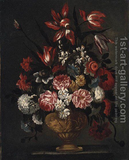 Flowers in an ornamental Urn by (after) Andrea Belvedere - Reproduction Oil Painting