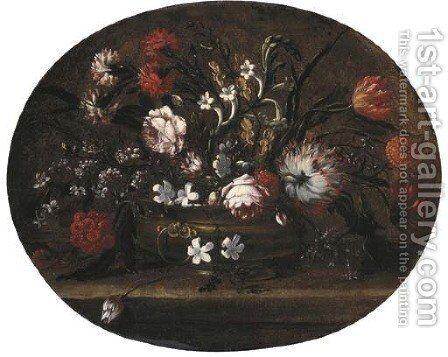 Roses, tulips, carnations and other flowers in a bronze vase on a ledge by (after) Andrea Belvedere - Reproduction Oil Painting