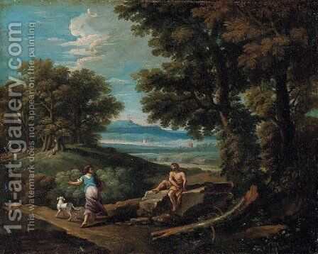 A wooded landscape with a peasant passing a resting shepherd by (after) Andrea Locatelli - Reproduction Oil Painting