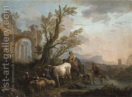 An Italianate river landscape with a peasant family travelling with his goats and cattle by (after) Andrea Locatelli - Reproduction Oil Painting