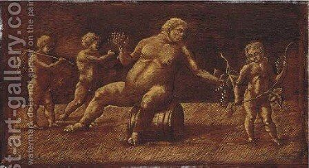 The drunken Silenus with putti a trompe l'oeil bas-relief by (after) Andrea Mantegna - Reproduction Oil Painting