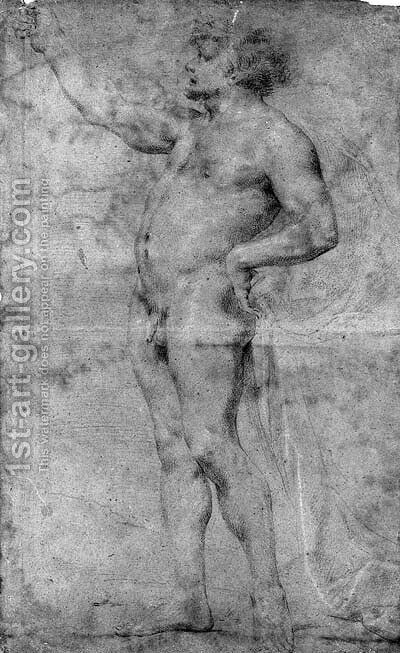 A nude leaning on a stick by (after) Andrea Sacchi - Reproduction Oil Painting