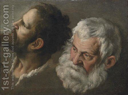 Head studies of two men by (after) Andrea Sacchi - Reproduction Oil Painting