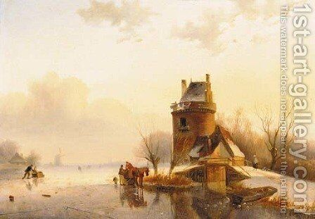 A tower by a frozen lake by (after) Andreas Schelfhout - Reproduction Oil Painting