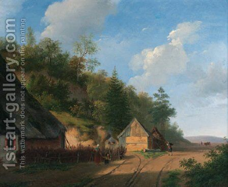 The forester's house by (after) Andreas Schelfhout - Reproduction Oil Painting