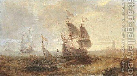 Men-o'-war and other shipping in a stiff breeze on the Schelde, a view of Antwerp beyond by (after) Andries Van Eertvelt - Reproduction Oil Painting
