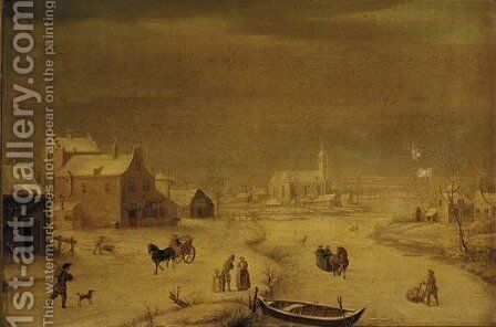 A winter landscape with burghers by a frozen river, a town beyond by (after) Andries Vermeulen - Reproduction Oil Painting