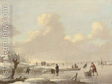 A winter landscape with skaters on a frozen river, a tent and a town beyond by (after) Andries Vermeulen - Reproduction Oil Painting