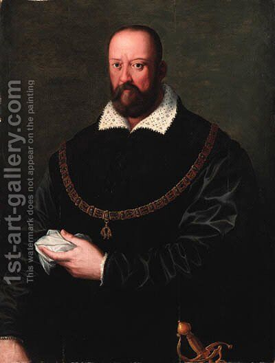 Portrait of Cosimo de Medici I by (after) Agnolo Bronzino - Reproduction Oil Painting
