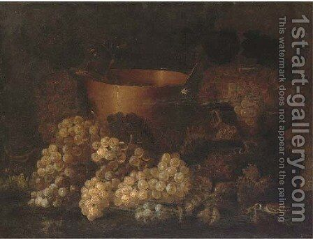 Grapes on the vine, a copper planter and a bird on a ledge by (after) Aniello Ascione - Reproduction Oil Painting