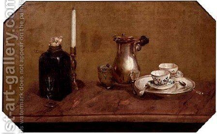 A silver coffee pot, by (after) Anne Vallayer-Coster - Reproduction Oil Painting