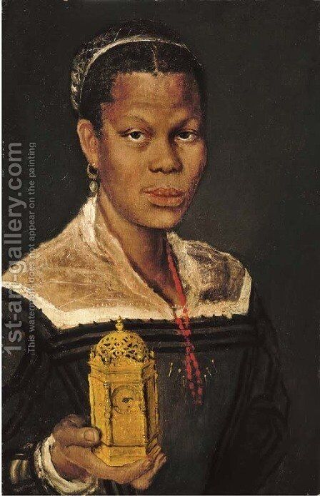 Portrait of a black lady by (after) Annibale Carracci - Reproduction Oil Painting