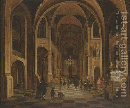 The interior of a church at night, with elegant figures in the foreground by (after) Anthonie De Lorme - Reproduction Oil Painting