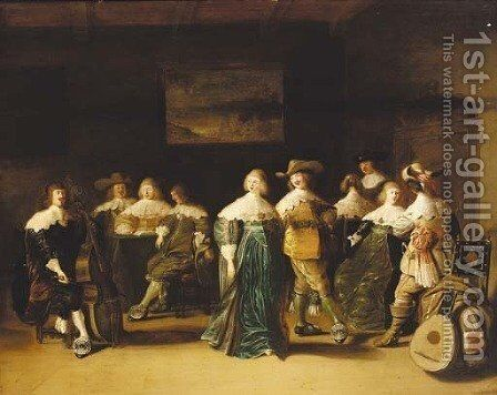 Elegant company dancing in an interior by (after) Anthonie Palamedes, Called Stevers - Reproduction Oil Painting