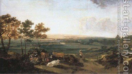 An extensive landscape with an elegant company resting, a country mansion in the distance by (after) Anthonie Van Borssom - Reproduction Oil Painting